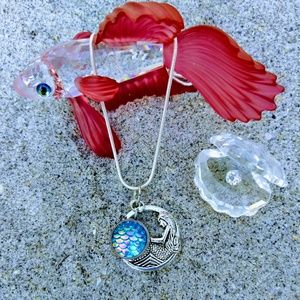 March Mermaid Birth Scale Necklace